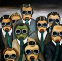 Leadership authors and speakers, Bob and Gregg Vanourek, use this picture of business people in gas masks to show the idea of toxicity in the work place.