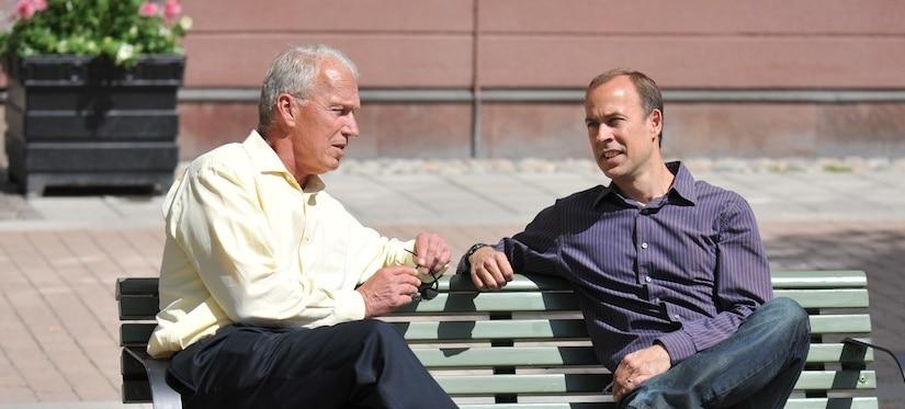 Bob Vanourek and Gregg Vanourek on bench