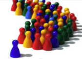 game pawns representing a leader in the crowd